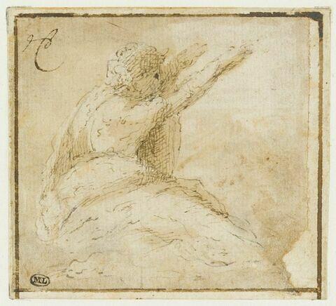 Homme drapé assis, de profil vers la droite, levant les bras