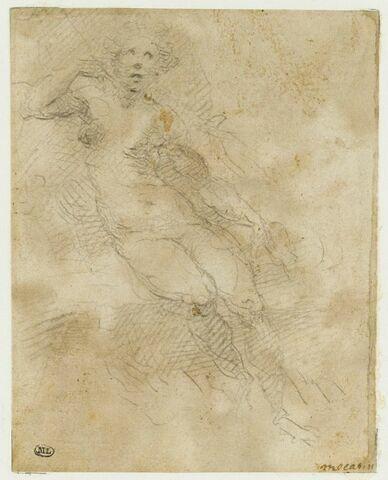 Femme nue assise, accoudée, vue de face : Io ou Sémélé ?