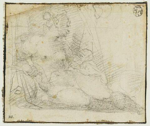 Femme nue à demi étendue auprès d'un vase