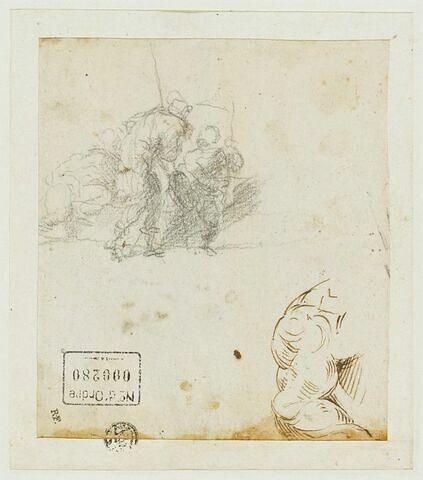 Trois figures conversant ;  une étude d'épaule