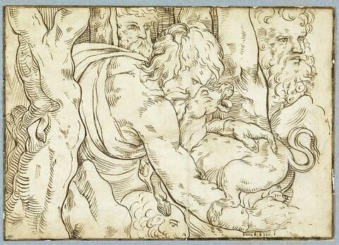 Trois hommes barbus, tournés vers droite, l'un tenant un animal