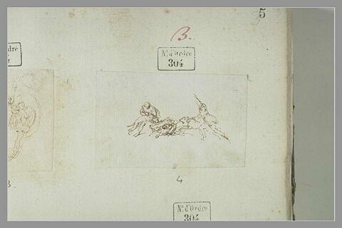 Deux piqueurs et quatre chiens attaquant un sanglier