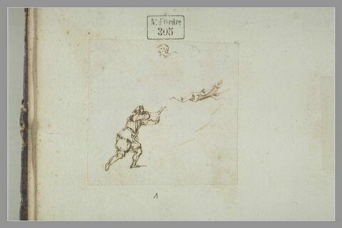Homme debout courant vers la droite; tête d'homme barbu; rameau