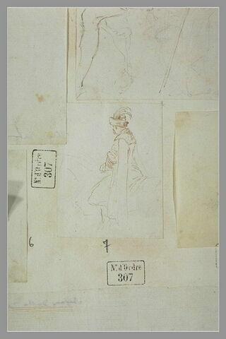 Cavalier polonais coiffé d'un turban, se dirigeant vers la gauche