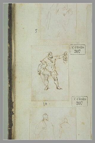 Homme, debout, tenant une épée, élevant un objet de la main gauche
