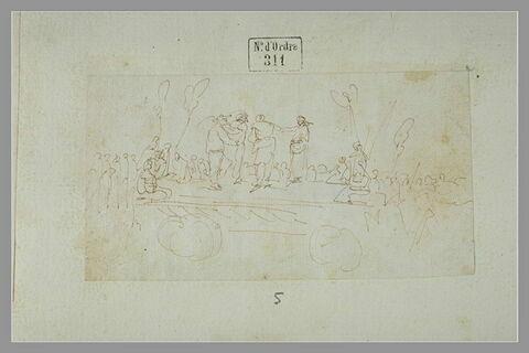 Scène de comédie burlesque sur un char devant des spectateurs