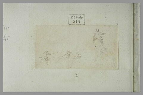 Deux cavaliers de dos ; croquis de tête ; deux hommes à terre