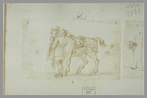 Valet polonais, vu de dos, tenant son cheval par la bride, et autres figures