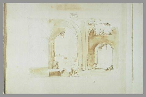 Intérieur de ruines avec figures : les Thermes de Caracalla (?)