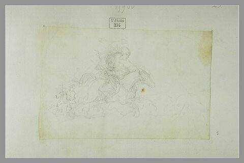 Deux cavaliers à turban sur un cheval au galop