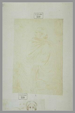 Femme assise de profil: étude d'après un bas-relief antique