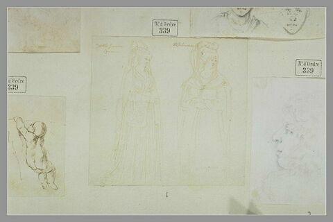 Deux femmes debout, en costume oriental, regardant vers la droite