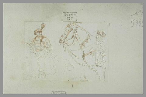 Cavalier polonais se dirigeant vers la gauche et étude de cheval harnaché