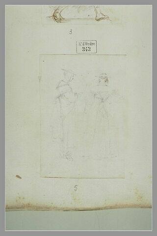 Deux femmes debout, l'une de profil vers la droite, l'autre de dos