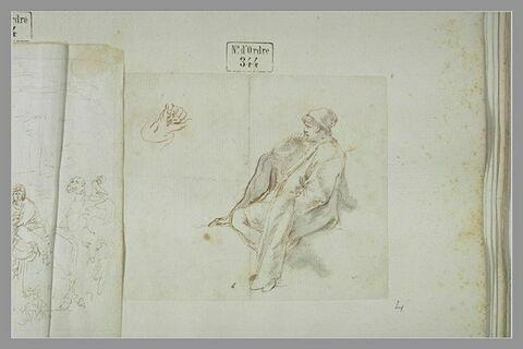 Homme en bonnet, assis, de profil, portant la main droite à sa bouche ; main