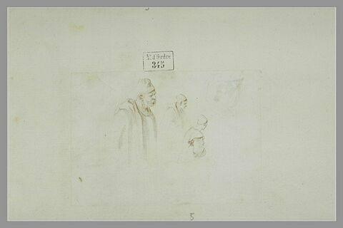 Quatre études d'homme en buste, coiffés de bonnet, de profil et de dos