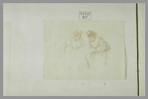 Deux hommes barbus assis, coiffés d'un turban, en discussion: deux turcs (?)