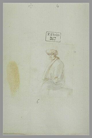 Vieillard assis, coiffé d'un turban, vu à mi-corps, tourné vers la gauche