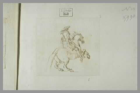 Cavalier sur un cheval cabré, se dirigeant vers la droite