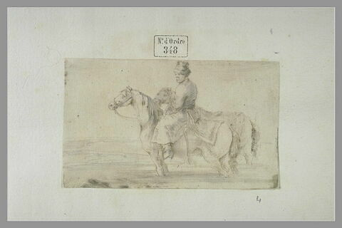 Valet polonais à cheval, de profil vers la gauche