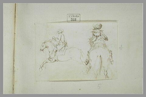 Deux cavaliers : l'un de dos, l'autre de profil sur un cheval au galop