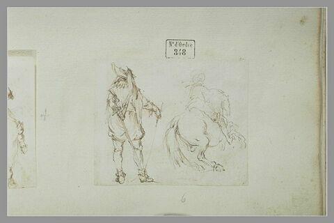 Cavalier de dos ; officier français de dos