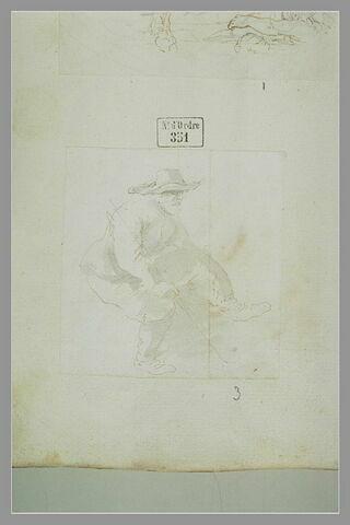 Mendiant assis, tenant un baton, coiffé d'un grand chapeau