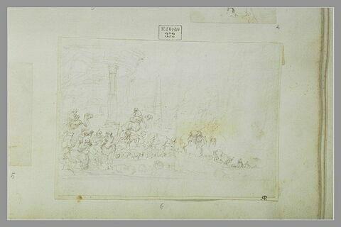 Défilé de troupeaux et de personnages devant un temple rond