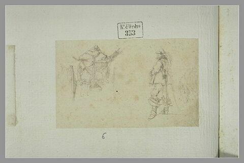 Homme tenant un cheval par la bride ; chariot chargé de bagages