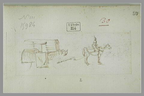 Cavalier polonais de profil, devant un chariot