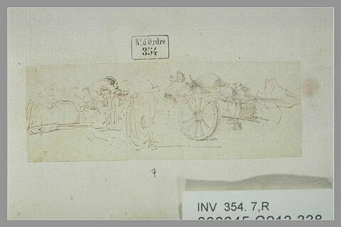 Deux chariots chargés de bagages, avec conducteur