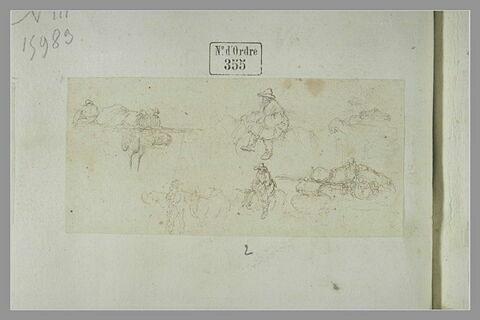 Chariots chargés de bagages avec un conducteur ; croquis de cavaliers