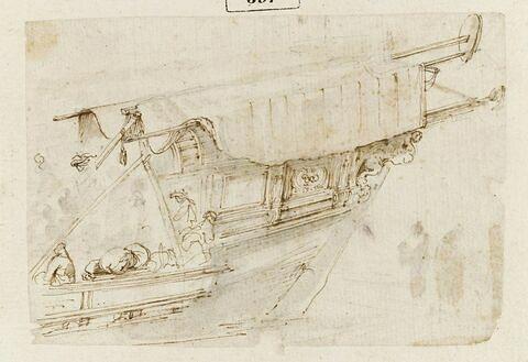 Profil avant d'une galère avec personnages ; deux figures à droite