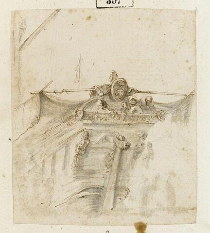 L'avant d'une galère ; quatre figures à droite