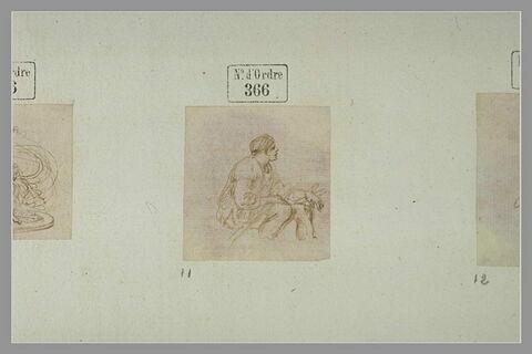Homme assis, de profil vers la droite, tenant une rame