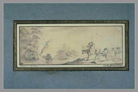 Paysage avec deux cavaliers et un homme à pied conduisant un cheval