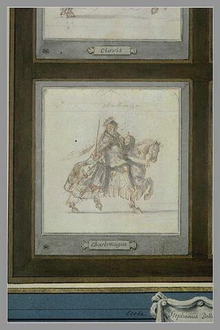 Charlemagne à cheval, de profil vers la droite