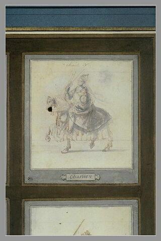Charles V à cheval, de profil vers la gauche