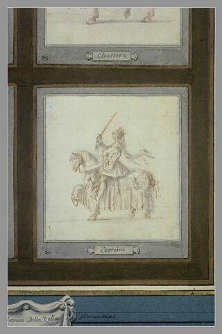 Le cavalier Lorraine à cheval, de profil vers la gauche
