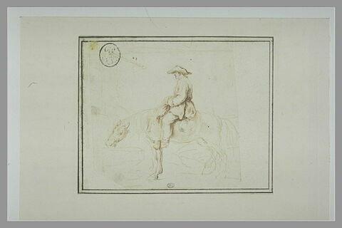 Cavalier faisant boire son cheval dans le bassin d'une fontaine