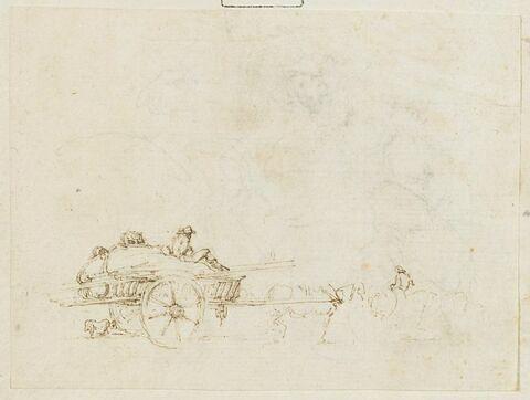 Charette chargée, attelée d'un cheval et montée par un homme