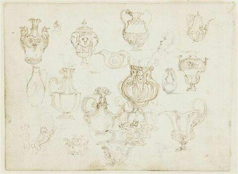 Etude de vases et d'aiguières ; coupe en forme d'escargot ; tête de satyre