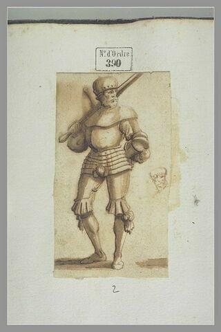 Soldat en armure, tenant un sabre sur l'épaule ; croquis de tête