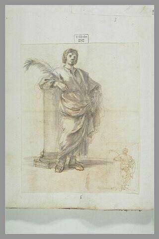 Saint martyr, tenant une palme, appuyé à une colonne