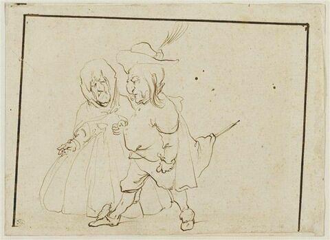 Couple caricatural : gentilhomme et vieille femme