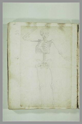 Un squelette, le bras droit levé