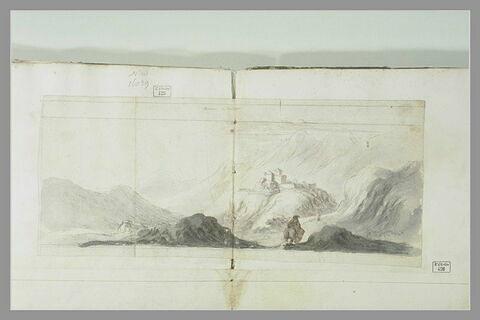 Vue de Briançon en Dauphiné, avec cavalier en premier plan