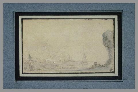 Vue d'un port avec barques, rochers et personnages