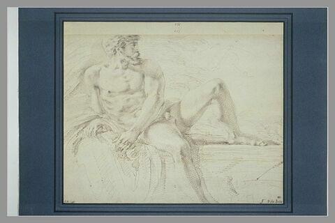 Académie d'homme nu, appuyé sur son bras droit
