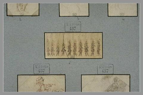 Petit corps d'infanterie, rangé en bataille, sur plusieurs lignes